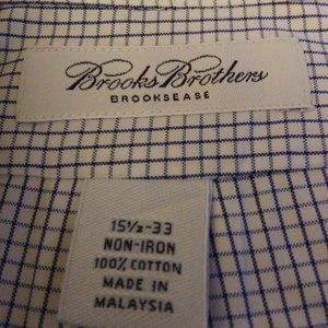 BROOKS BROTHER BLUE AND WHITE CHECKED DRESS SHIRTS